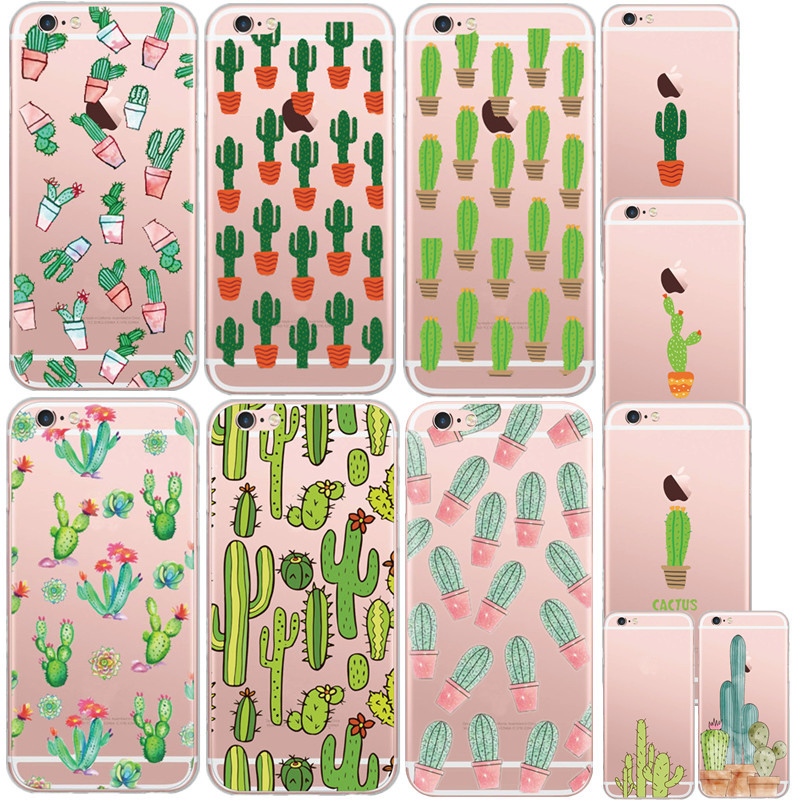 11 Styles Green Plants Desert Cactus Pattern Mobile Phone Case Cover For Apple iphone 6 6s Soft Clear TPU Plastic Capa Para(China (Mainland))