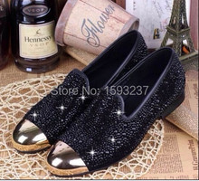 100% real pictures newest bling gold crystal men flat shoes fashion slip-on dress shoes round toe formal shoes oxford Shoes(China (Mainland))