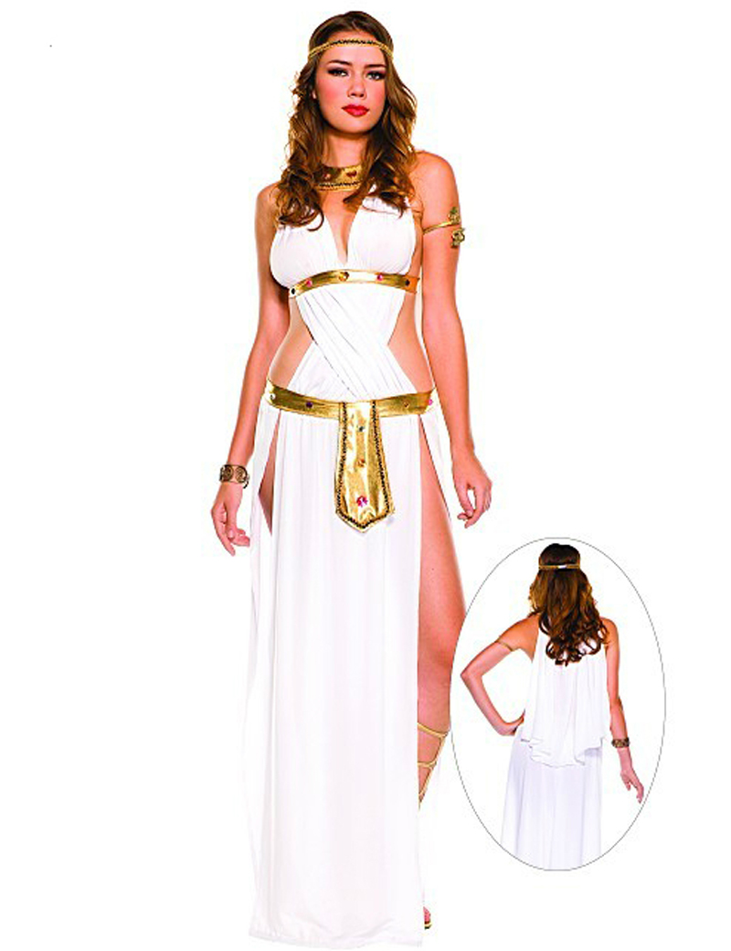 Halloween Sexy Egyptian Cleopatra Costume Ladies Cleopatra Roman Toga Robe Greek Goddess Fancy Dress Costume Outfits White