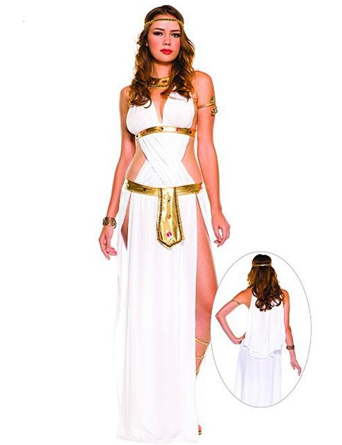 Halloween Sexy Egyptian Cleopatra Costume Ladies Cleopatra Roman Toga Robe Greek Goddess Fancy Dress Costume Outfits White
