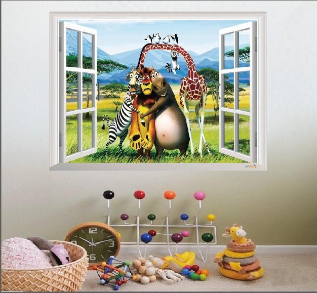 Бесплатная доставка 3D декорации окно мадагаскар алекс глория марти мультфильм наклейки для стен наклейки детские комнаты декор 1402