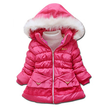 New 2016 Autumn Winter Girls Coat Plus Thick Velvet Hooded Cotton-padded Long Jacket Children Clothing Winter Jacket For Girls(China (Mainland))