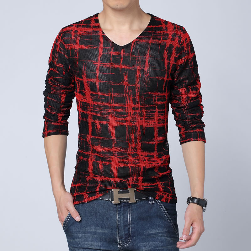 T shirt men 2015 hot sale v neck t shirts for men long for Mens long sleeve t shirts sale
