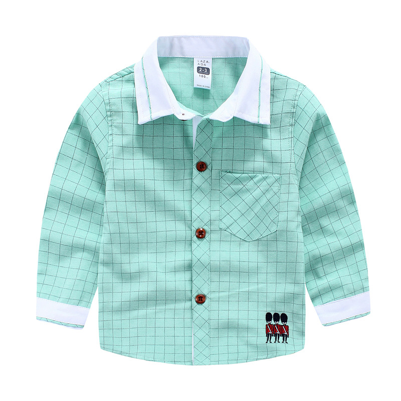 2016 Hot Childrens boy Soldiers embroidery shirt Oxford spinning handsome long sleeve shirts wholesale<br><br>Aliexpress