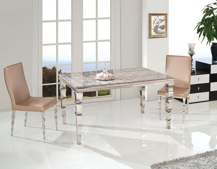 high quality modern dining room furniture cabinet stainless steel with marble top dining table Th361(China (Mainland))