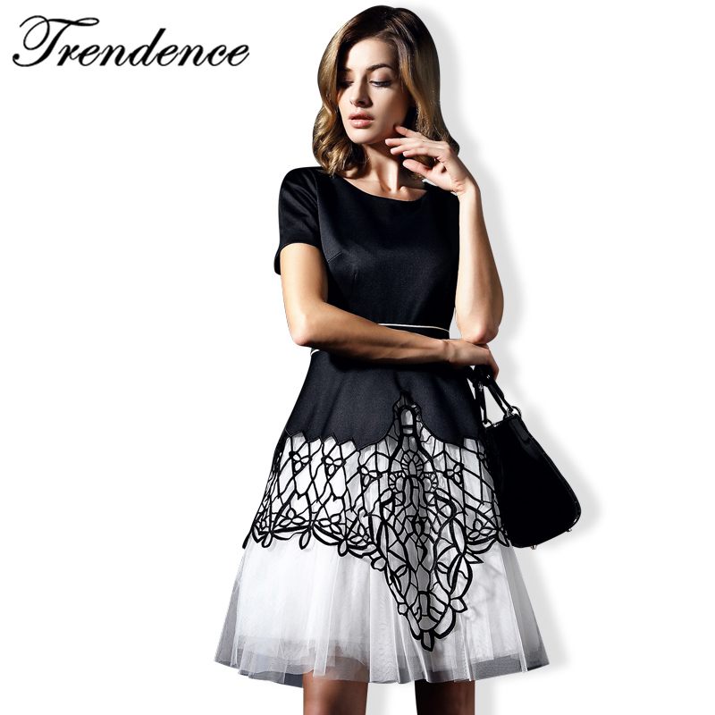 Здесь можно купить  Trendence Woman Dress New Fashion2016 Vestidos Casual Summer Dress Party Tracery O-Neck Europe Style Above Knee 10C8564F Trendence Woman Dress New Fashion2016 Vestidos Casual Summer Dress Party Tracery O-Neck Europe Style Above Knee 10C8564F Одежда и аксессуары