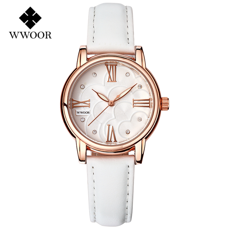 relojes mujer 2016 WWOOR Quartz-Watch Women Dress Gold Case Leather Elegant Lady Clock Luminous Ladies Watches relogio feminino(China (Mainland))