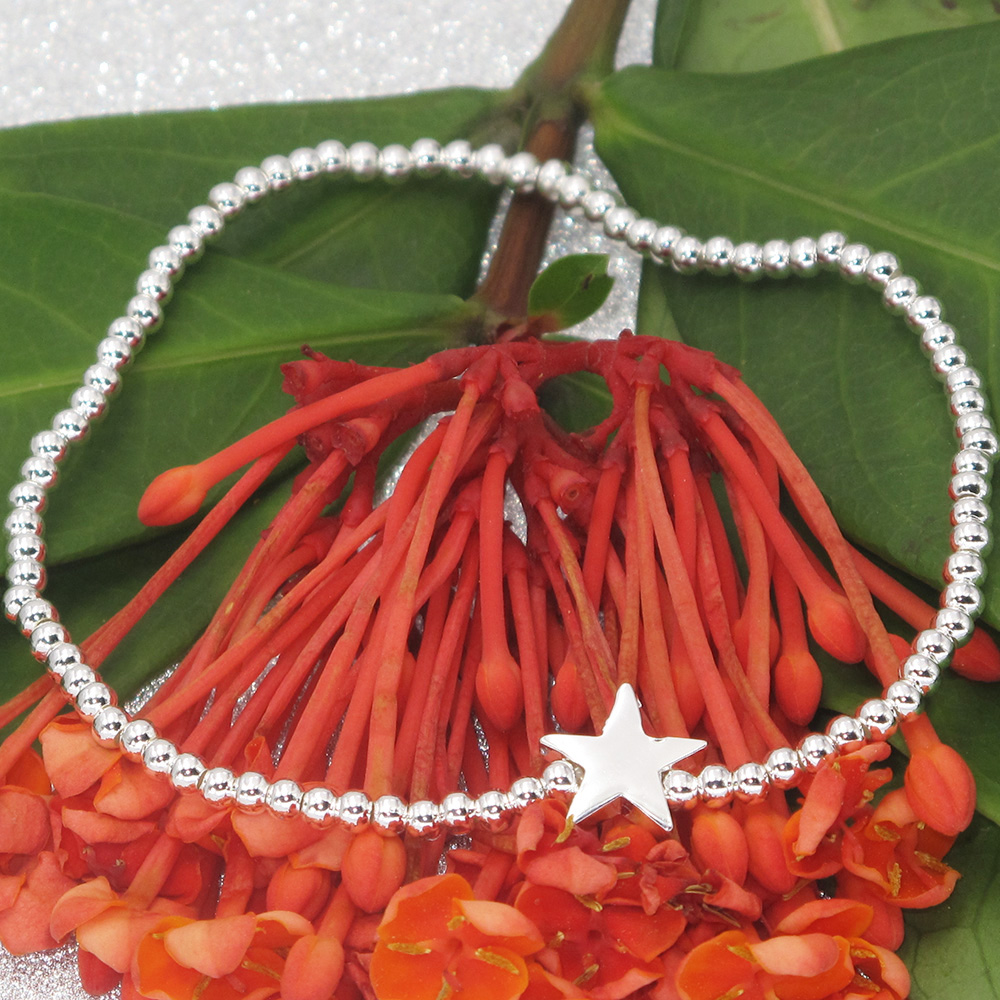 2016 Newest Fashion Silver Plated Lovely Star 2.5MM Bead Fit Elastic Bracelet Bracelet For Women(China (Mainland))