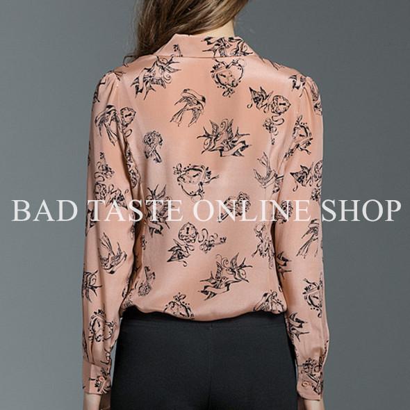 Italy Luxury Designers Love Doves Printed Silk Shirt Fashion Women's Long Sleeved Swallow Printed Nude Pink Shirt Princess Shirt(China (Mainland))