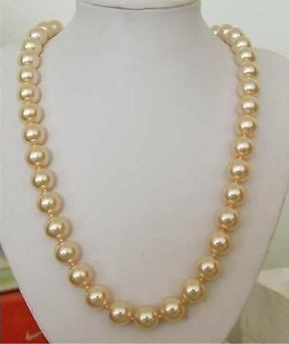 """12mm AAA Golden South Sea Shell pearl necklace 24"""""""" beads jewelry making women long necklace silver(China (Mainland))"""