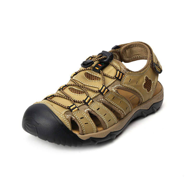 Aleader Mens Leather Outdoor Sandals New 2015 Summer Outdoor Shoes Sport Sandals Men Breathable Beach Slippers Hiking Sandals(China (Mainland))