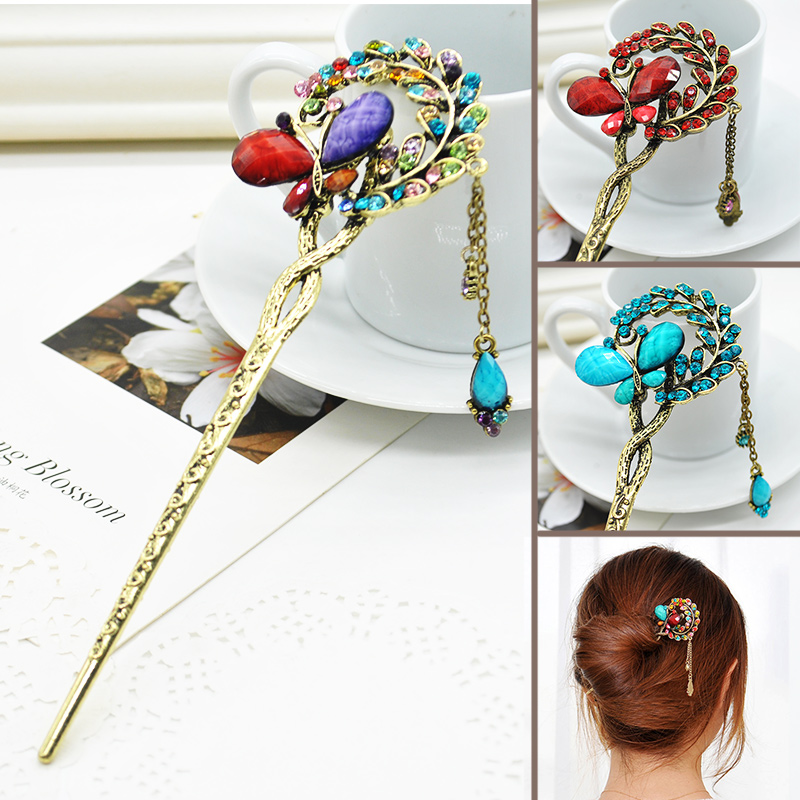 Rhinestone Butterfly Hair Sticks Hairpins Classical Lady Styling Tools Wedding Hair Accessories F60*SS0162#M1(China (Mainland))