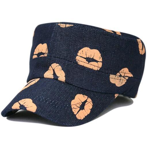 denim red lip baseball cap lady summer hat 2color 1pcs free shipping(China (Mainland))