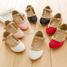 Hot Sale New Pretty Princess Girls Kids Children Sandals Leather Rivet Buckle T-strap Flat Heel Shoes 16 Sizes For 2-10 Years(China (Mainland))