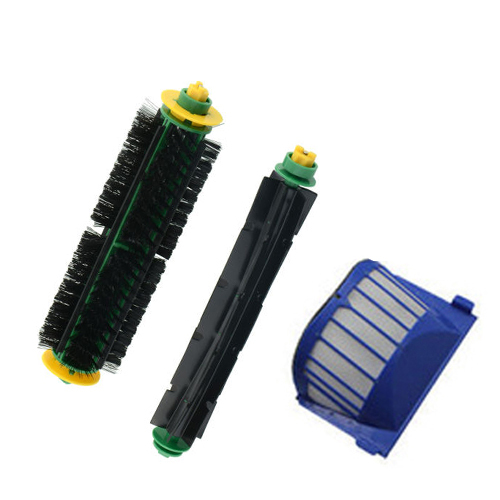 Free Shipping!1 Set Bristle Brush and Flexible Beater Brush+AeroVac Filter for iRobot Roomba 530 540 550 560 570 580(China (Mainland))