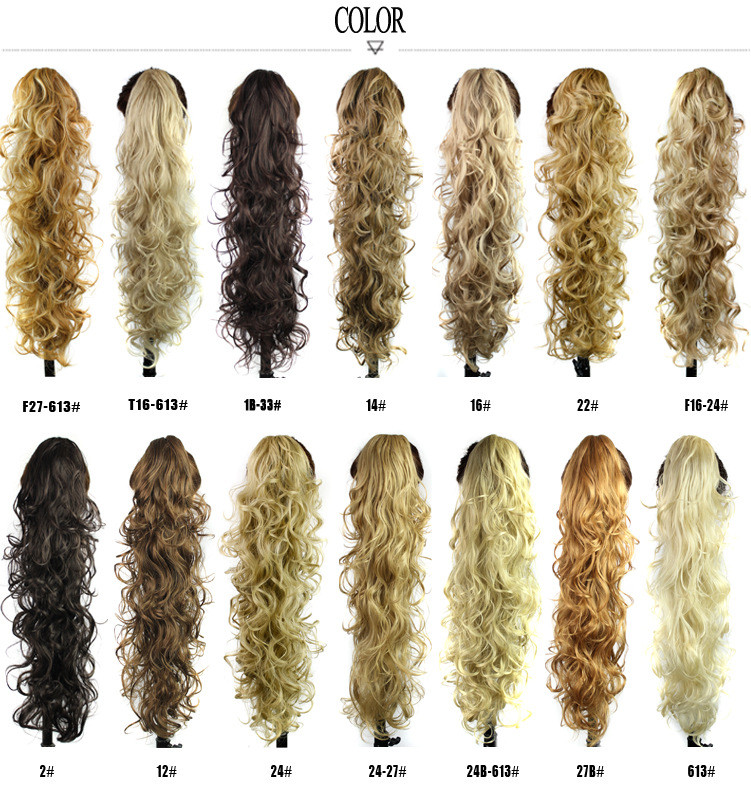 "26"" 200g Women Long Curly Claw Clip In Hair Ponytails Synthetic Hair Extensions Hairpiece Heat Resistance Fiber For Human"
