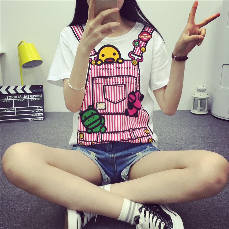 2015 Hot Sale T shirt Cartoon Duck Print Casual Women T-shirt Short Sleeve White T-shirts Ladies Harajuku Tops Y0715-24D(China (Mainland))