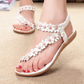 2016 Summer New Shoes Woman Brand Fashion Floral Flat Sandals Casual Sandals Striping Bead Sweet Gladiator