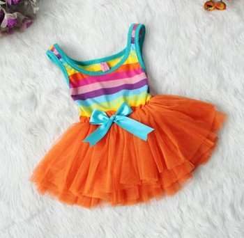 2013 New RETAIL 1 pcs Toddler Girl's Summer colorful striped Dress Baby Dress, Girls' Clothing free shipping