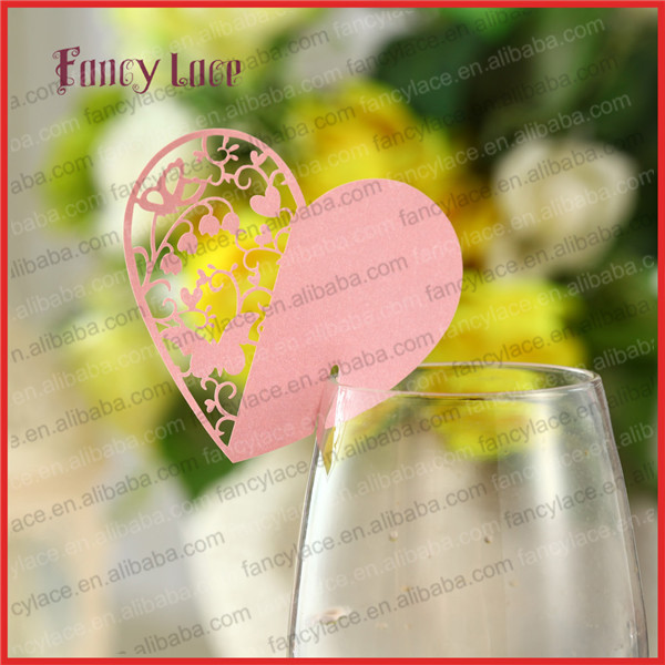 50PCS Wholesale Wedding Decorations Place Name Cards, Elegant Wine Glass Cards Laser Cut Love Heart Butterfly Paper Party Favor(China (Mainland))