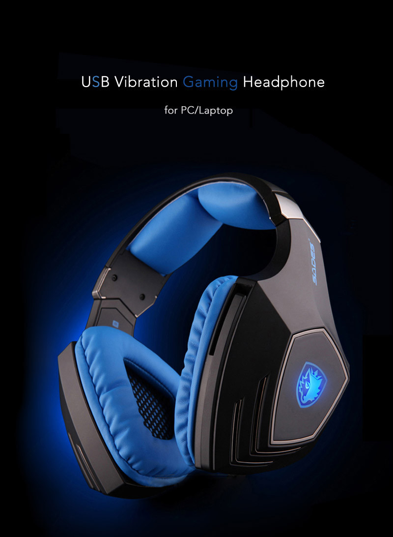 SADES A60 fone Game Headset Vibration Function and 7.1 Surround Sound Professional Gaming Headphone Earphone 3 Colors LED Light