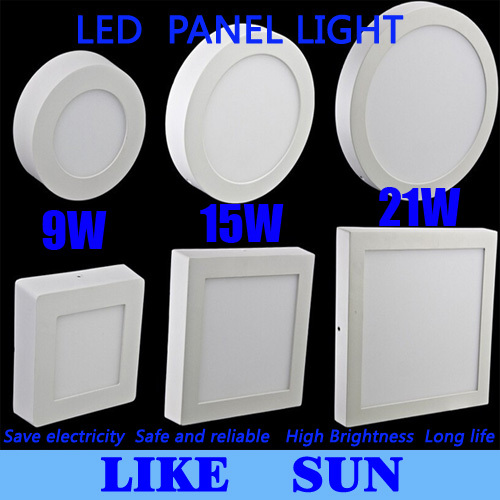 Free shipping 9W/15W/21W Round/Square Led Panel Light Surface Mounted Downlight lighting Led ceiling down AC 110-240V + Driver(China (Mainland))