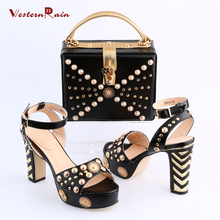 Women Shoes High Heel Sapato Feminino Italian Shoe With Matching Bag With Alloy Lady Sandal And To Match Set Hot Sale Sets(China (Mainland))
