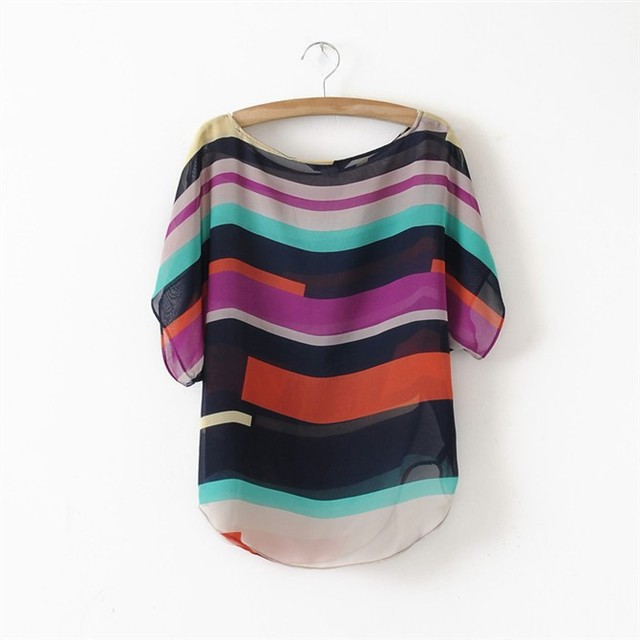 Модный Striped Шифон Женщины Blouse Multi Цвет Print рубашка Свободный Короткий Рукав ...