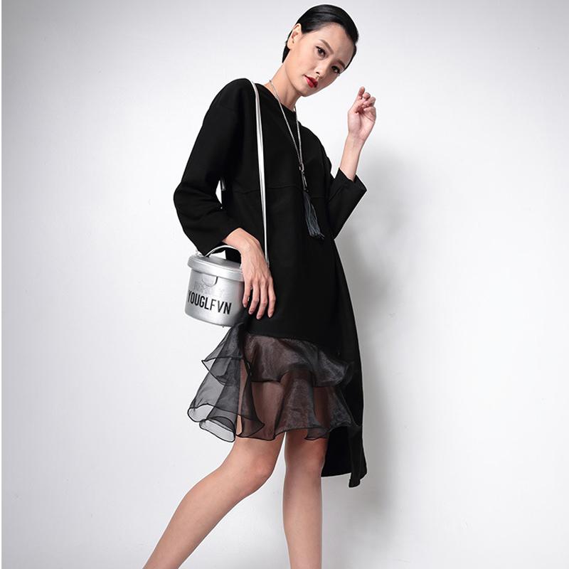 2015 new autumn winter Europe & America Street fashion asymmetric flounced long sleeve sweater dress for women black white