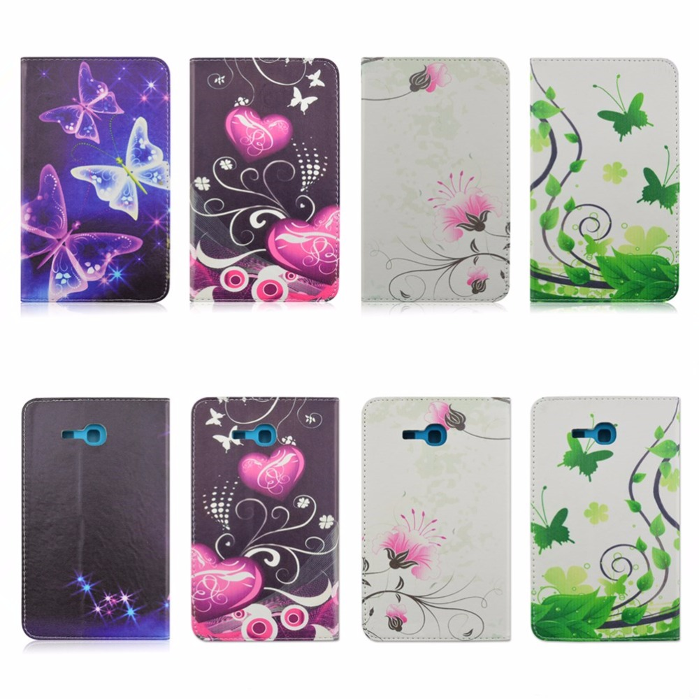 Flowers Butterfly PU Leather Stand Case Cover For Samsung Galaxy Tab 3 Lite 7.0 T110 T111 7 inch tablet Accessories(China (Mainland))