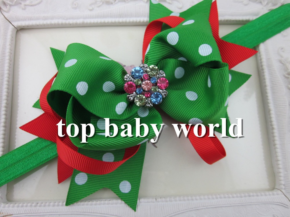 "MOQ 1pcs 5"" Grosgrain ribbon green with white Polka dot crystal buttons bows headband children accessories hair bows(China (Mainland))"
