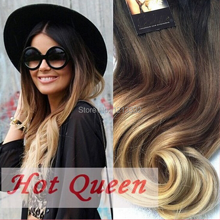 Free Shipping Brown&Blonde Ombre Human Hair Extensions 7pcs/Set 70 g 5A Brazilian Wavy Remy Clip In Hairs In Stock(China (Mainland))