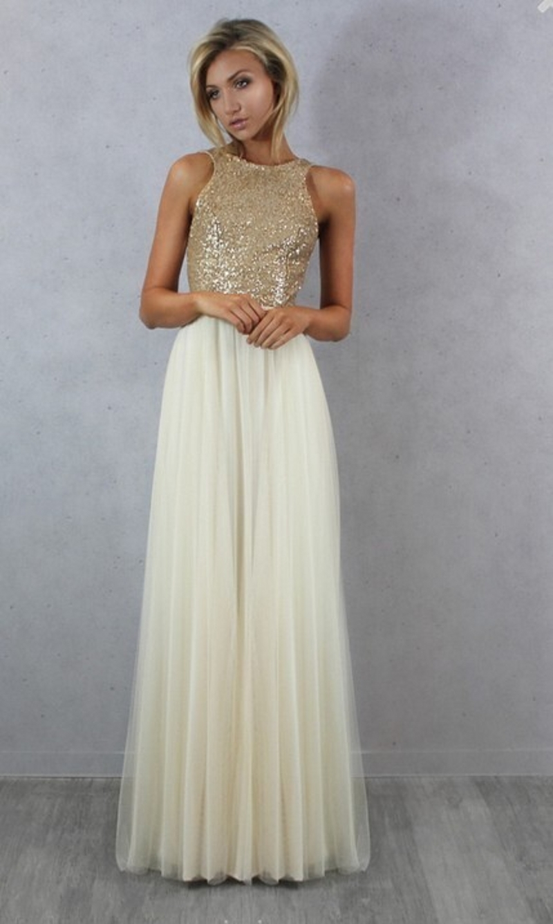 charmming chiffon tulle with top champagne gold sequin