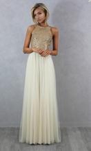 Charmming Chiffon Tulle com Top Champagne Ouro Lantejoula Vestidos Dama de honra Formal Prom Dress 2015 vestido Longo Especial Ocasião Vestidos