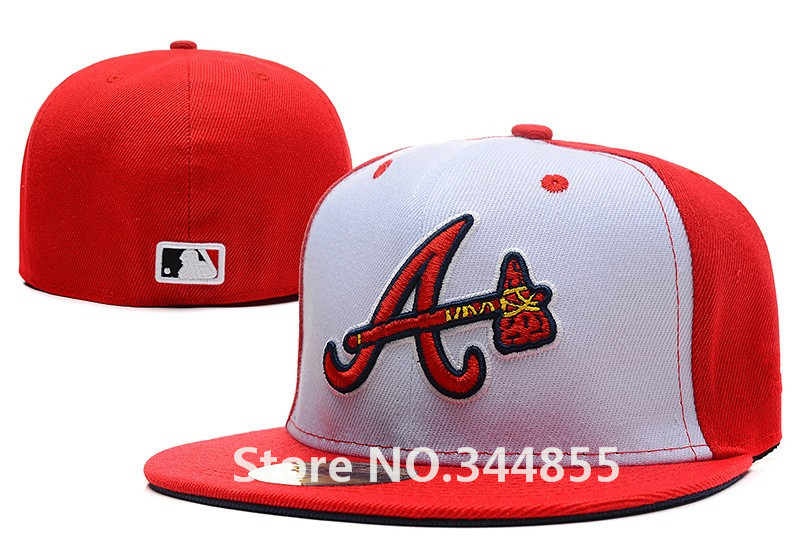 Classic Men's White Red Color Atlanta Braves Fitted Hats Embroidered Team Logo Sport Baseball Full Closed Caps(China (Mainland))