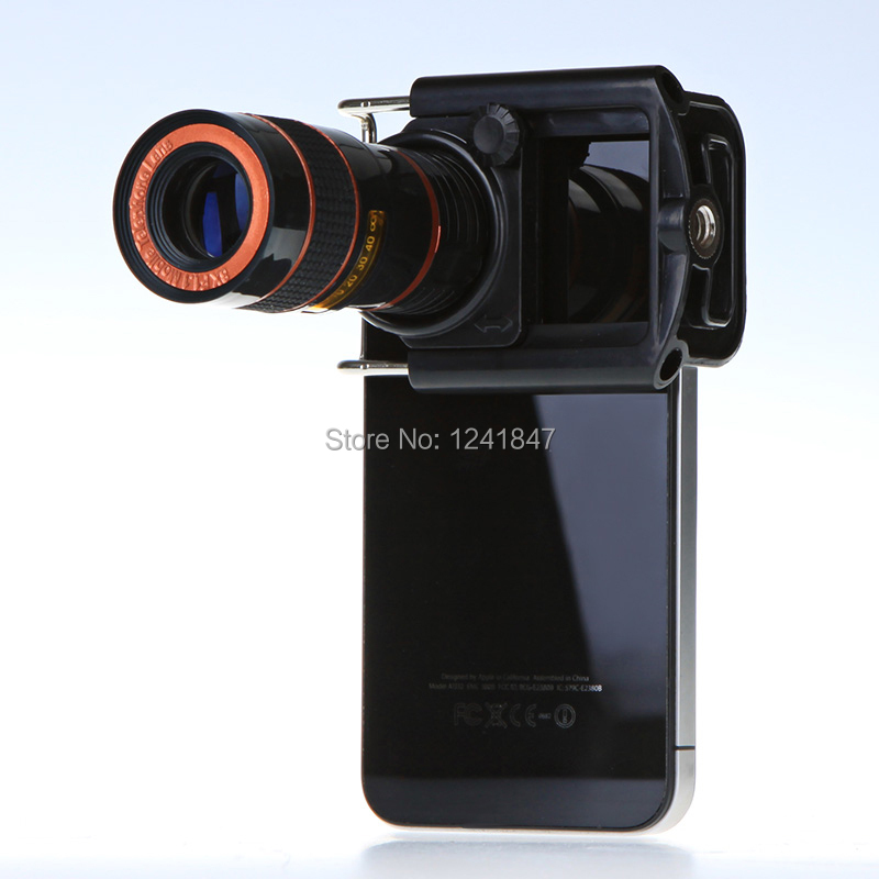 Hot Universal 8x Zoom Optical Mobile Phone Lens Telescope For iPhone Sumsung HTC Clip Eightfold Magnifier with Holder lenses(China (Mainland))