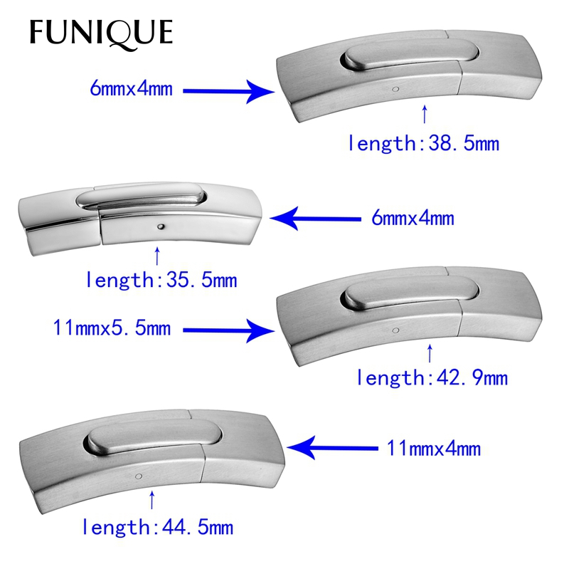 FUNIQUE 1PC Stainless Steel Arc Plain Magnetic Lock Clasp For Leather Bracelet DIY(China (Mainland))