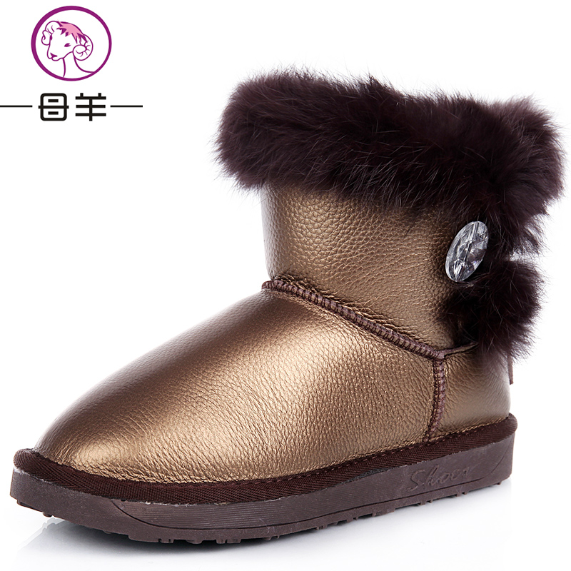Winter genuine leather waterproof boots snow boots rabbit fur boots cotton-padded shoes boots