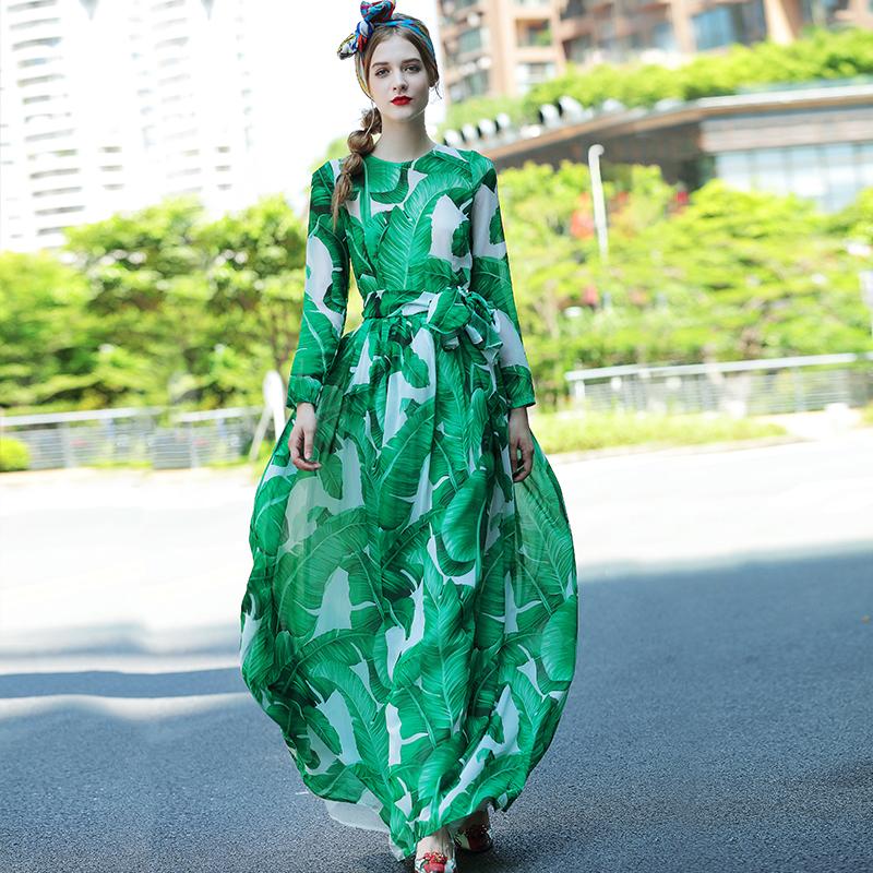 Fashion Long Dress 2017 Autumn New Topshop Long Sleeve Leaf Print Slim Belt Casual Maxi Green Elegant Dress(China (Mainland))