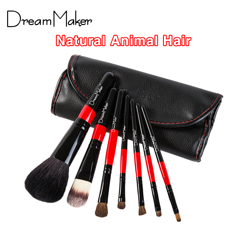 Animal Hair professional 7pcs makeup brushes set PU leather bag Make up Kits Horse hair eyeshadow cosmetic tool foundation brush(China (Mainland))