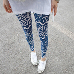 Large legging elastic milk silk legging geometric figure pattern legging thin summer female