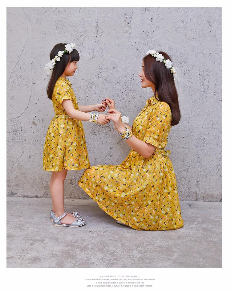 Скидки на Девушки платья лето 2016 новый мать и дочь одежда длинное желтое платье женщины с отложным воротником с коротким рукавом мода платье