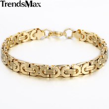 Buy Trendsmax 6/8/11mm Stainless Steel Gold-color Bracelet Flat Byzantine Mens Friendship Wristband Motorcycle Biker KBM16 for $4.93 in AliExpress store