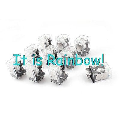 Free Shipping HH52PL DC 220V Coil 8-Pin 4PDT Green LED Indicator Light Power Relay 10 Pcs<br><br>Aliexpress