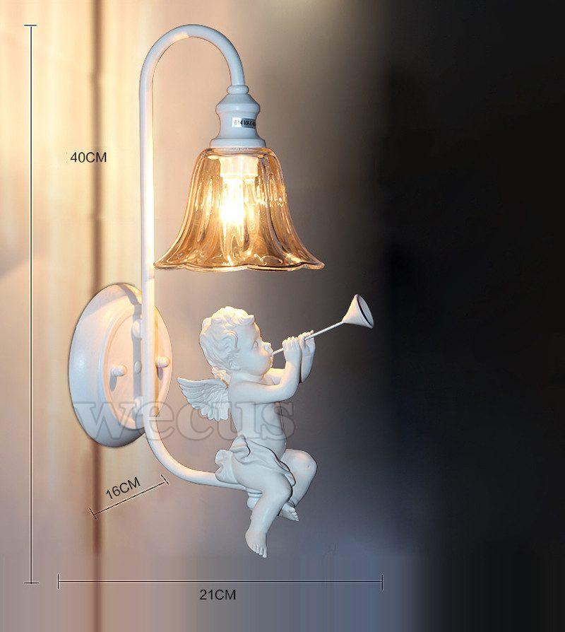 Creative Pastoral angel wall light foyer abajur living room bedside aisle stair cafe lamparas bar hotel corridor wall lamp bra