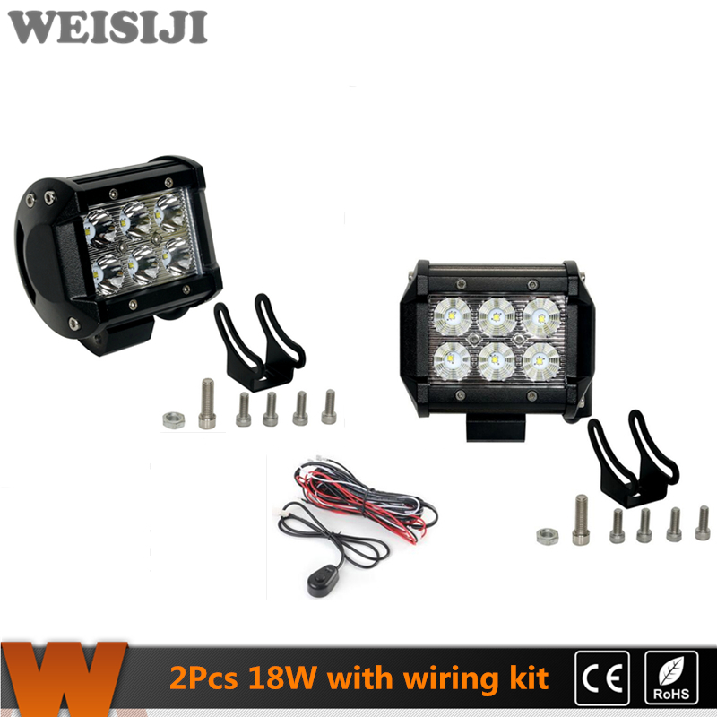 WEISIJI 2Pcs/Set 18W LED Ligfht Bar for 4*4 Offroad Jeep Hummer Ford SUV Train Truck Ship 4in Work Light Bar with CREE Chips(China (Mainland))