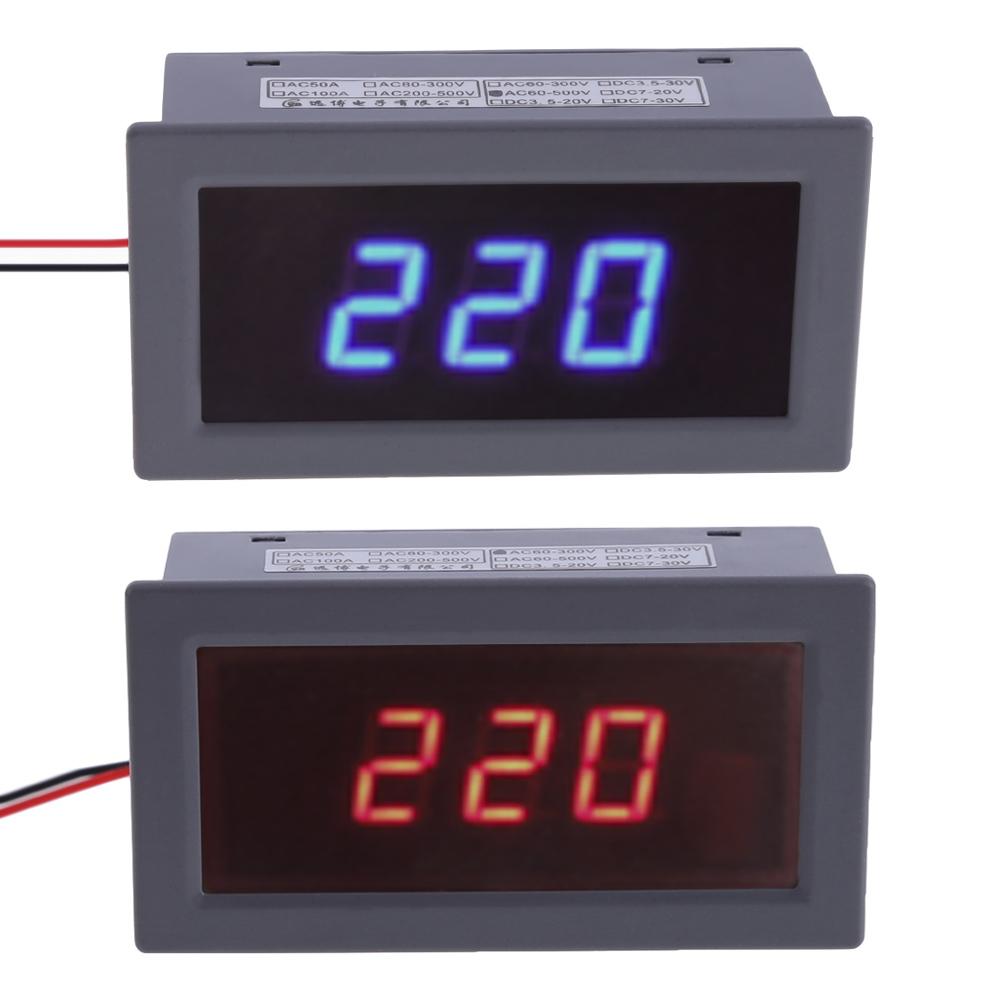 AC220V 60V-300V / 60V-500V 0.56 Inch Digital Red / Blue LED Voltage Meter Voltmeter Panel