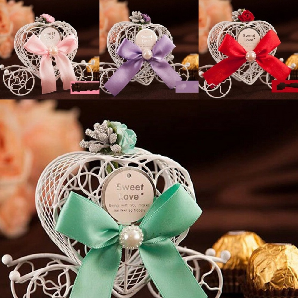 100 Pieces/ lot Iron Carriage Candy Box Romantic fairy-tale Wedding Decoration wedding favors and gifts(China (Mainland))