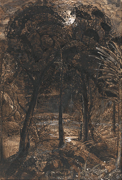 Canvas Art Prints Stretched Framed Giclee World Famous Artist Oil Painting Samuel Palmer Moonlit Scene Winding River(China (Mainland))