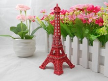 25cmRhinestone Red Paris Eiffel Tower Model City Building Statue Collectible Sculpture for Valentine's Day Gifts Home Decoration(China (Mainland))